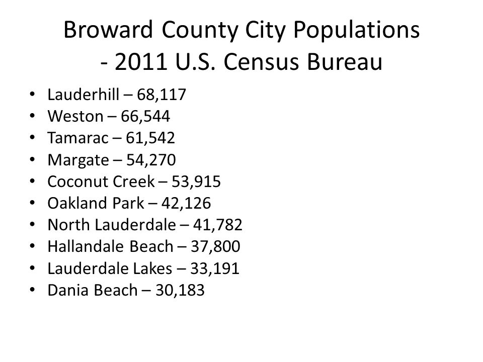 Broward County City Populations - 2011 U.S.
