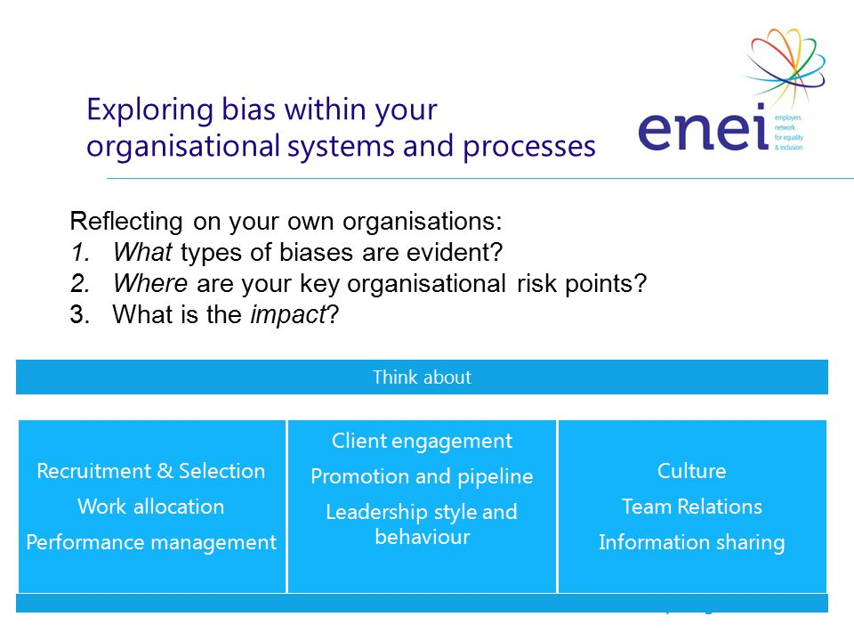 Reflecting on your own organisations: 1.What types of biases are evident.