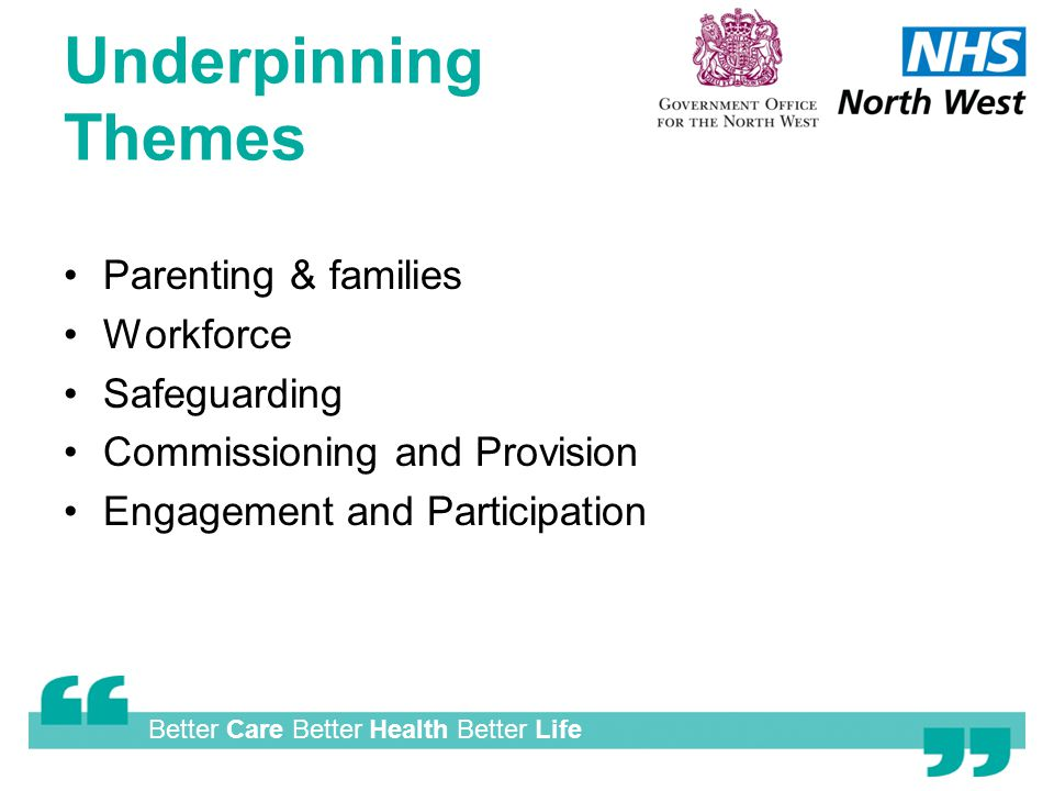 Better Care Better Health Better Life Underpinning Themes Parenting & families Workforce Safeguarding Commissioning and Provision Engagement and Participation