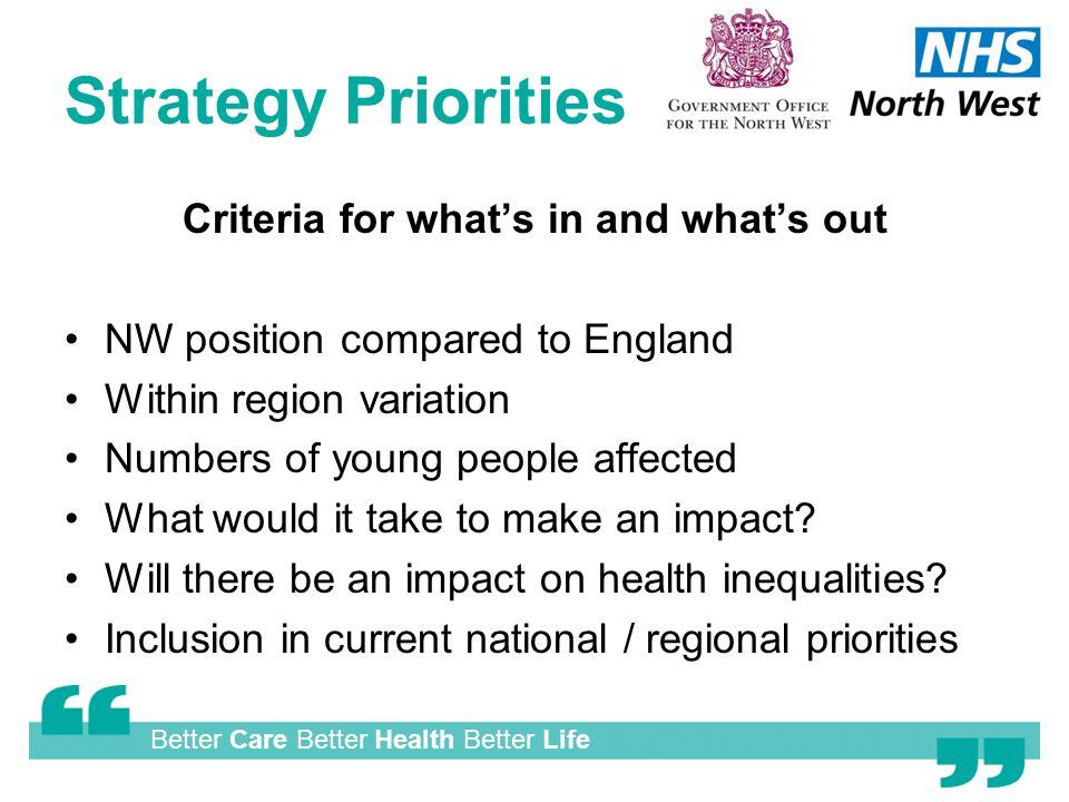 Better Care Better Health Better Life Strategy Priorities Criteria for what's in and what's out NW position compared to England Within region variation Numbers of young people affected What would it take to make an impact.