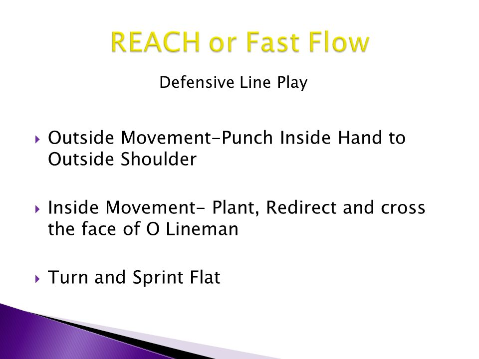  Outside Movement-Punch Inside Hand to Outside Shoulder  Inside Movement- Plant, Redirect and cross the face of O Lineman  Turn and Sprint Flat Def