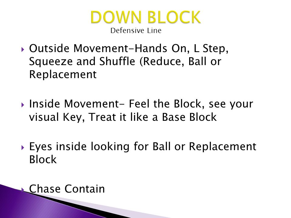  Outside Movement-Hands On, L Step, Squeeze and Shuffle (Reduce, Ball or Replacement  Inside Movement- Feel the Block, see your visual Key, Treat it