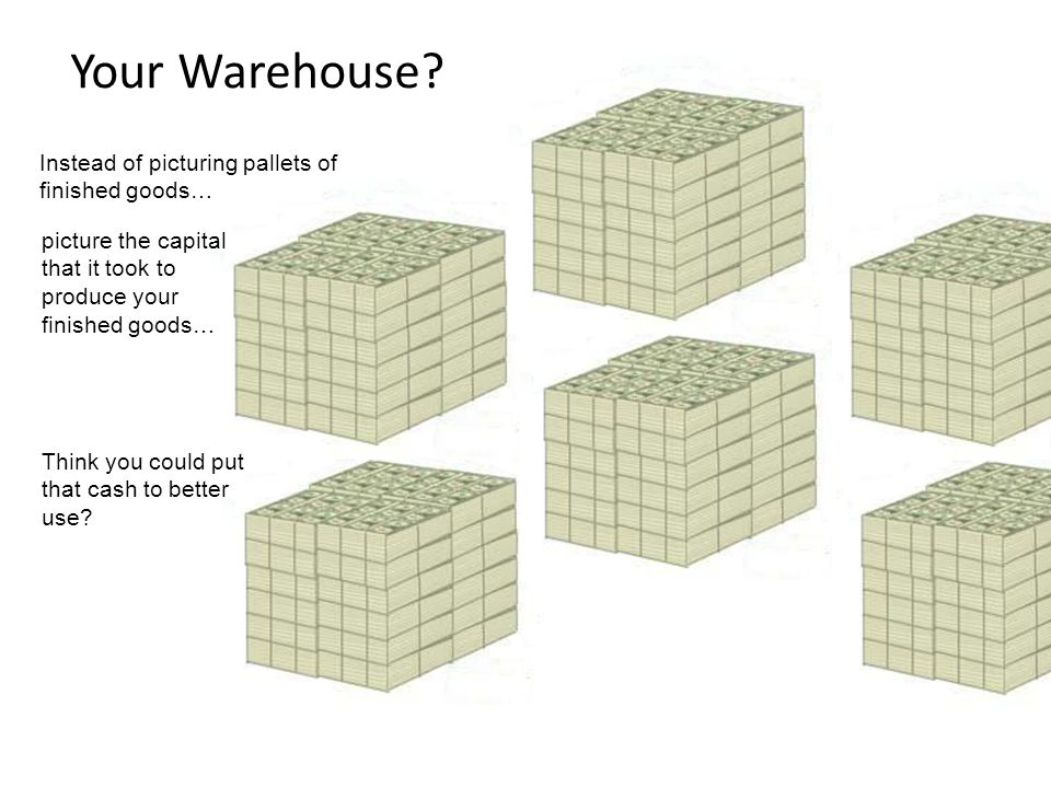 Your Warehouse? Instead of picturing pallets of finished goods… picture the capital that it took to produce your finished goods… Think you could put t