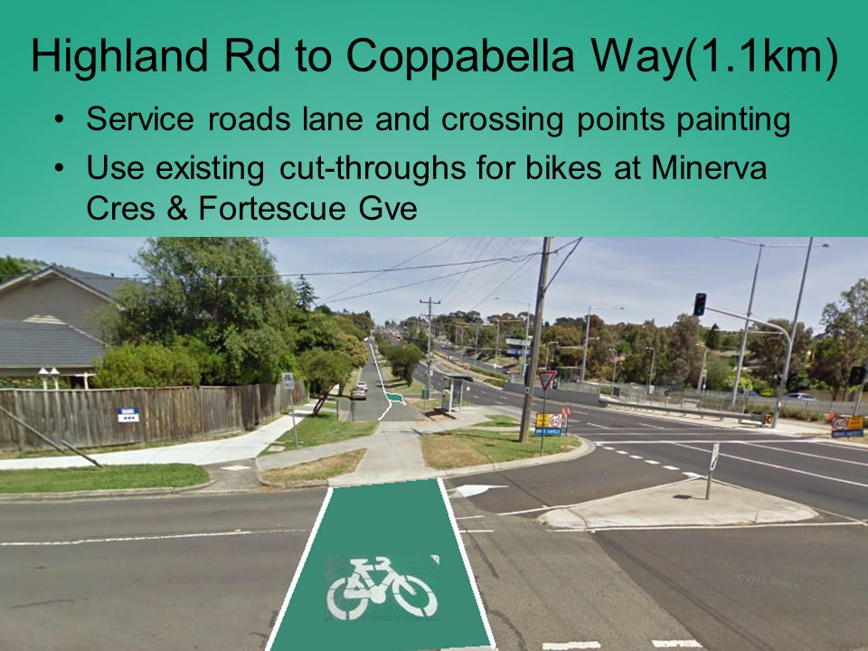 Highland Rd to Coppabella Way(1.1km) Service roads lane and crossing points painting Use existing cut-throughs for bikes at Minerva Cres & Fortescue Gve