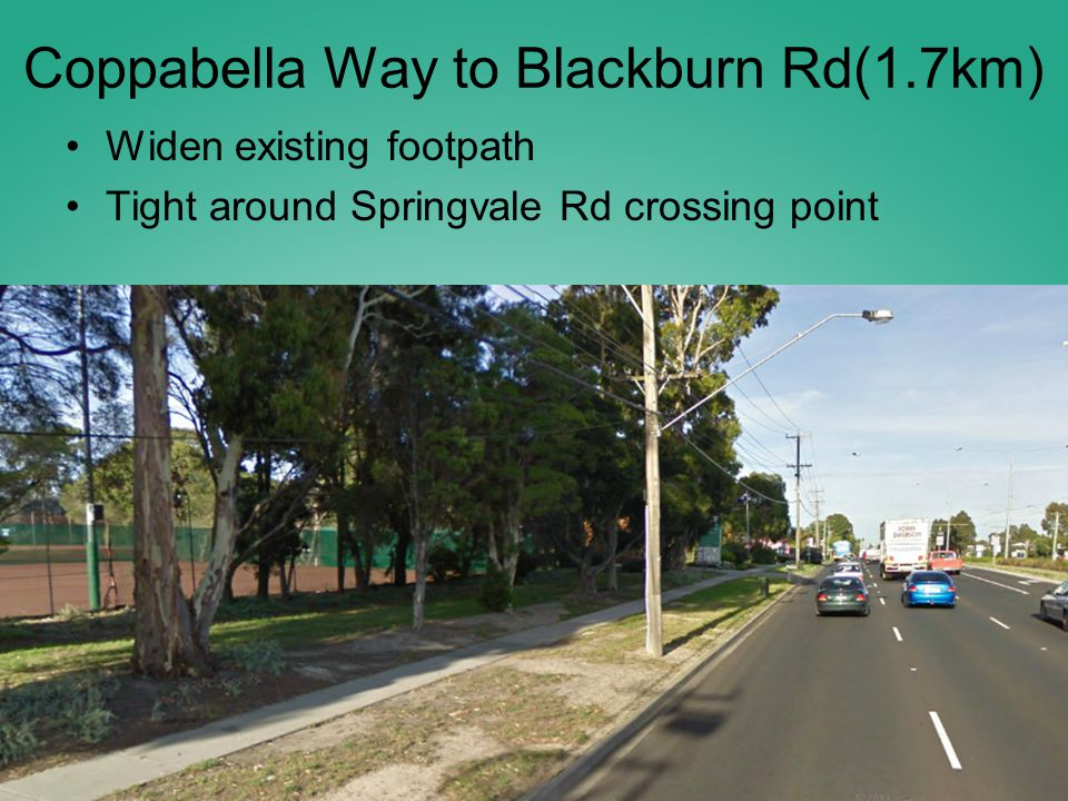 Coppabella Way to Blackburn Rd(1.7km) Widen existing footpath Tight around Springvale Rd crossing point