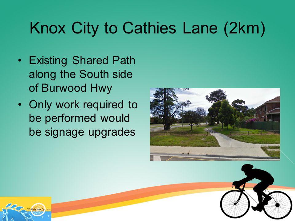 Cathies Lane to Eastlink (350m) Concrete path runs alongside Burwood Highway – might need better marking Path goes under Eastlink at bridge