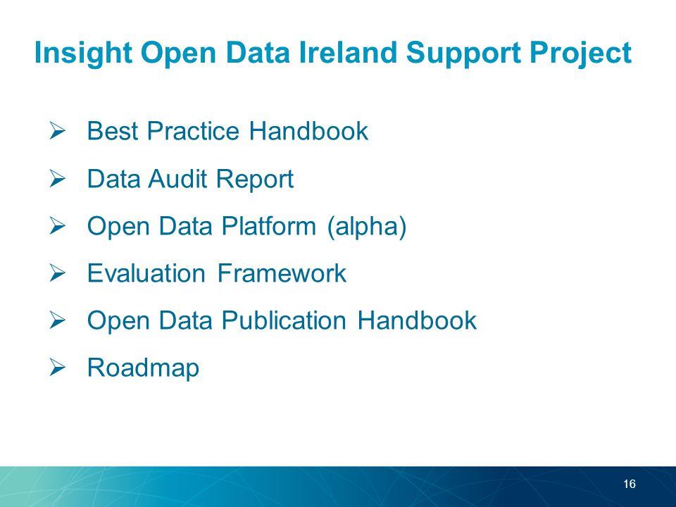 Insight Open Data Ireland Support Project  Best Practice Handbook  Data Audit Report  Open Data Platform (alpha)  Evaluation Framework  Open Data Publication Handbook  Roadmap 16
