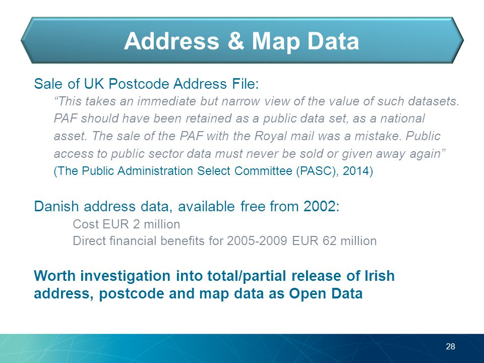 Sale of UK Postcode Address File: This takes an immediate but narrow view of the value of such datasets.