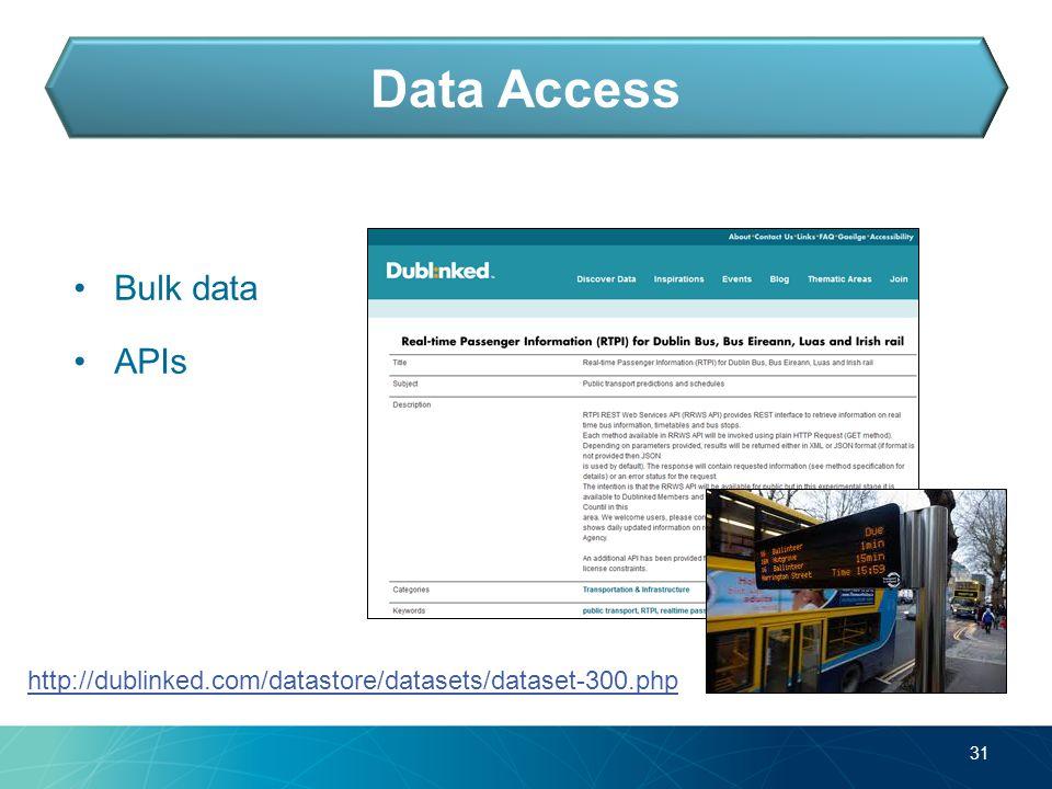 Bulk data APIs 31 Data Access http://dublinked.com/datastore/datasets/dataset-300.php