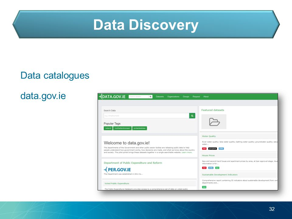 Data catalogues data.gov.ie 32 Data Discovery