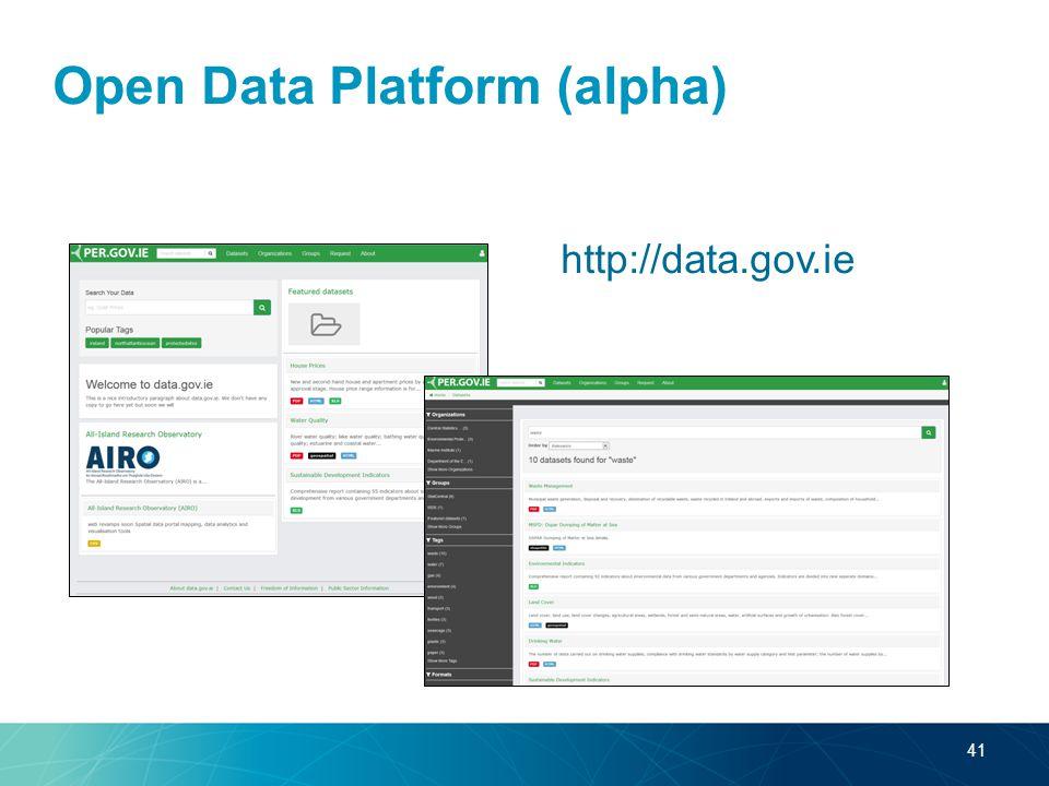 Open Data Platform (alpha) http://data.gov.ie 41