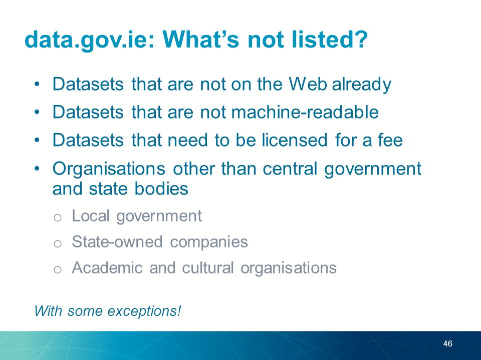 data.gov.ie: What's not listed.