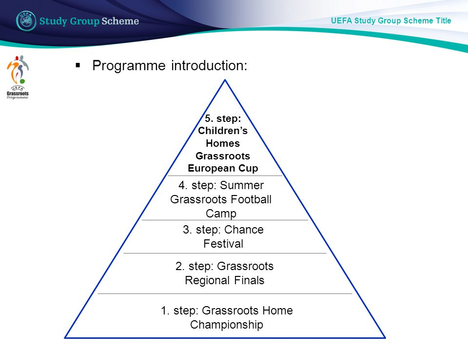 UEFA Study Group Scheme Title ― The Faith and Sport Foundation started this programme in 2000 to help international foster home groups to do sports in Hungary for 5 days.