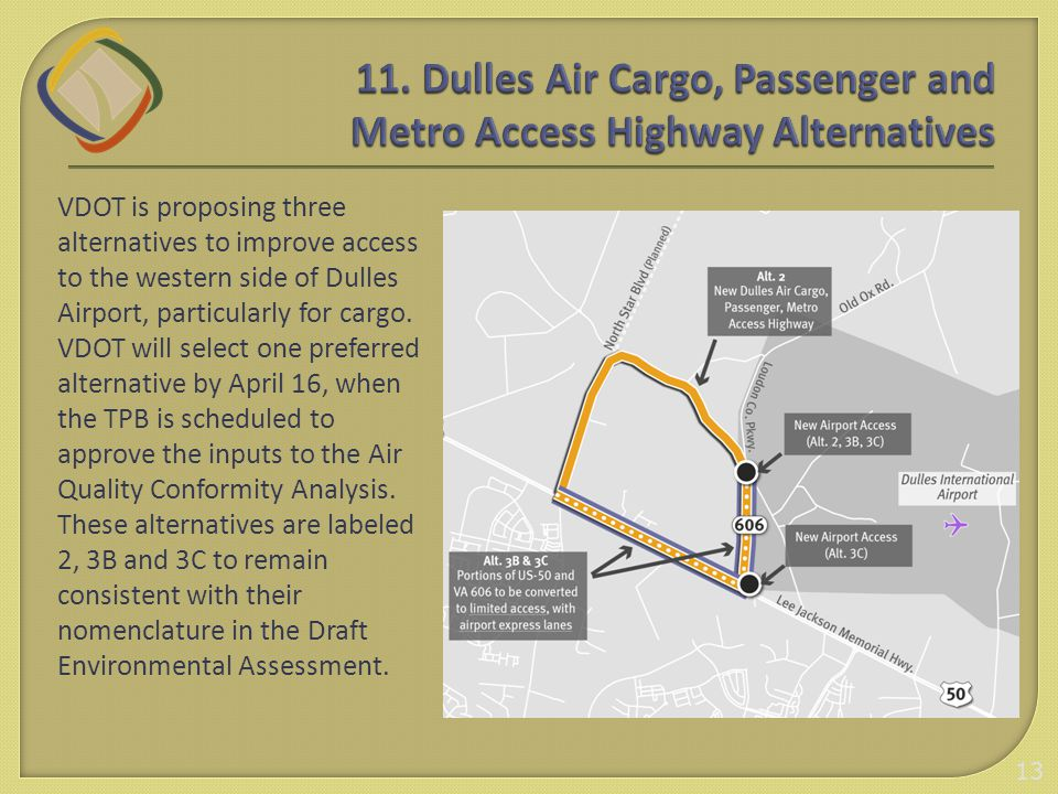 VDOT is proposing three alternatives to improve access to the western side of Dulles Airport, particularly for cargo. VDOT will select one preferred a