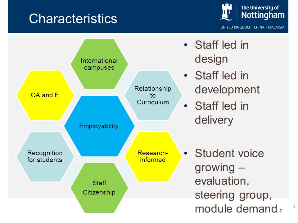 2 Characteristics Staff led in design Staff led in development Staff led in delivery Student voice growing – evaluation, steering group, module demand 2 Employability International campuses Relationship to Curriculum Research- informed Staff Citizenship Recognition for students QA and E