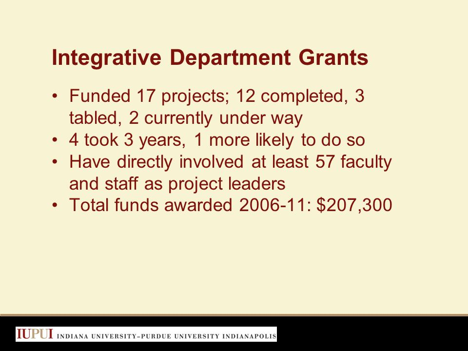 Integrative Department Grants Funded 17 projects; 12 completed, 3 tabled, 2 currently under way 4 took 3 years, 1 more likely to do so Have directly involved at least 57 faculty and staff as project leaders Total funds awarded 2006-11: $207,300