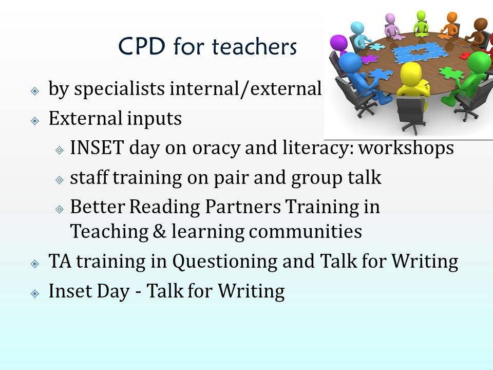 CPD for teachers sssss  by specialists internal/external  External inputs  INSET day on oracy and literacy: workshops  staff training on pair and