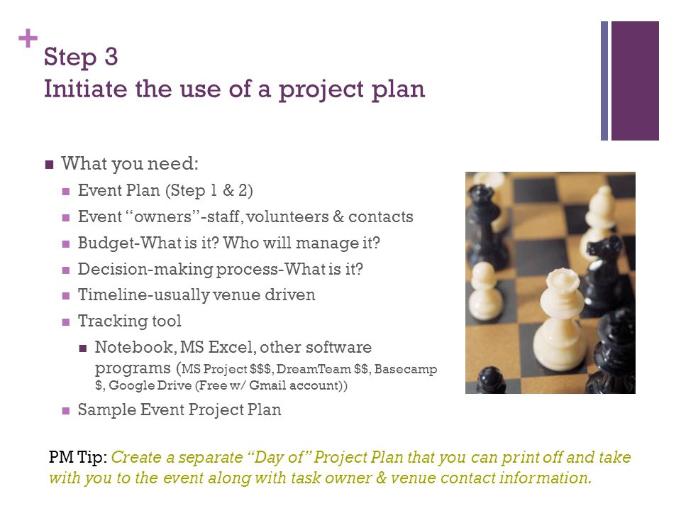 + Step 3 Initiate the use of a project plan What you need: Event Plan (Step 1 & 2) Event owners -staff, volunteers & contacts Budget-What is it.