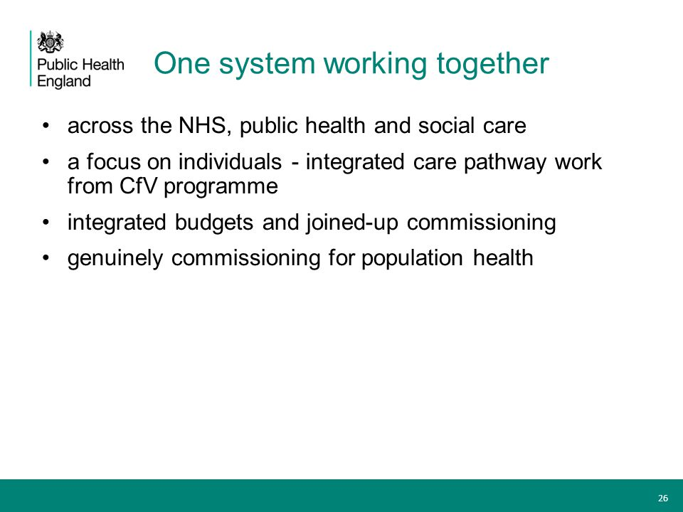 One system working together across the NHS, public health and social care a focus on individuals - integrated care pathway work from CfV programme int