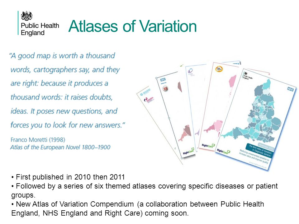Atlases of Variation First published in 2010 then 2011 Followed by a series of six themed atlases covering specific diseases or patient groups. New At