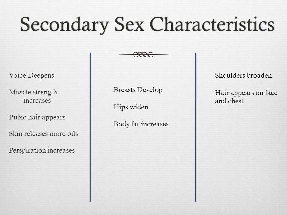 Secondary Sex CharacteristicsSecondary Sex Characteristics Voice Deepens Muscle strength increases Pubic hair appears Skin releases more oils Perspira