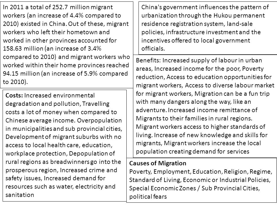 In 2011 a total of 252.7 million migrant workers (an increase of 4.4% compared to 2010) existed in China. Out of these, migrant workers who left their
