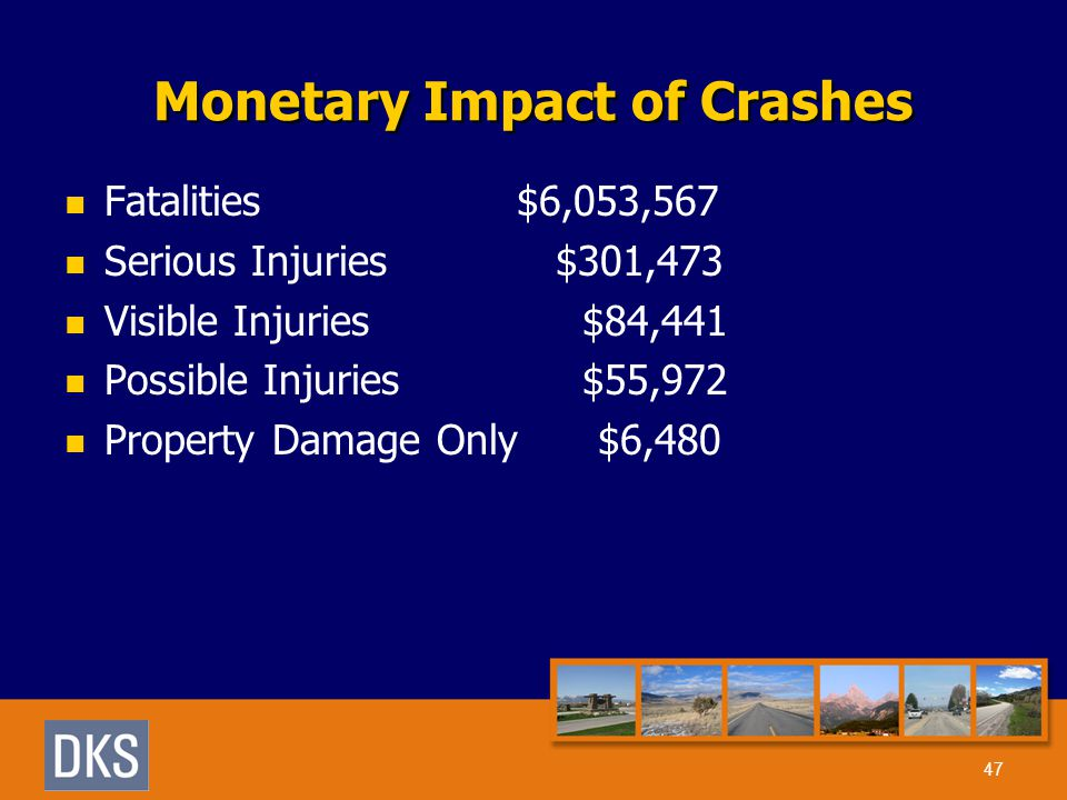 Monetary Impact of Crashes Fatalities $6,053,567 Serious Injuries $301,473 Visible Injuries $84,441 Possible Injuries $55,972 Property Damage Only$6,480 47