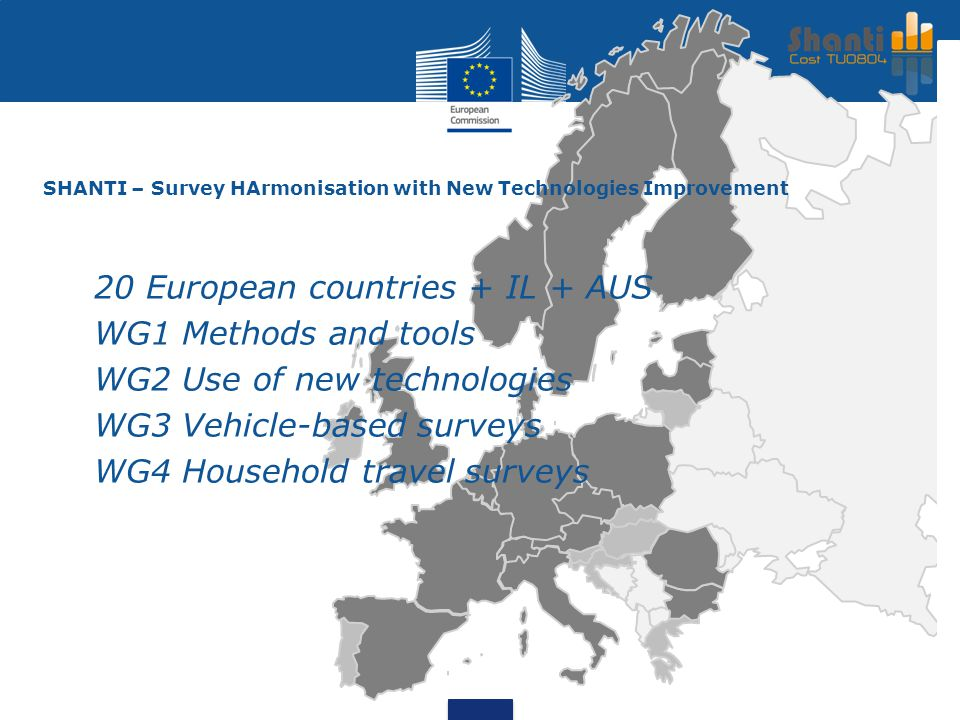 SHANTI – Survey HArmonisation with New Technologies Improvement 20 European countries + IL + AUS WG1 Methods and tools WG2 Use of new technologies WG3