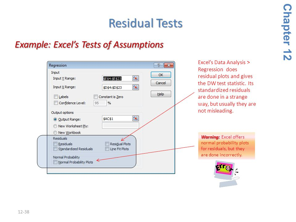 12-38 Example: Excel's Tests of Assumptions Example: Excel's Tests of Assumptions Chapter 12 Residual Tests Warning: Warning: Excel offers normal prob