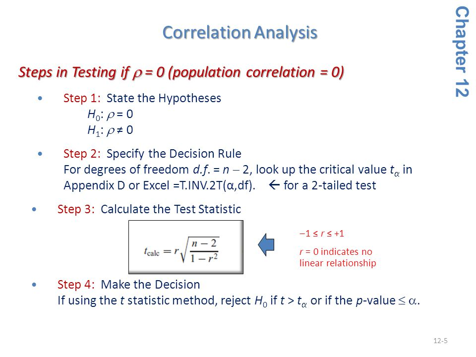 12-5 Step 1: State the Hypotheses H 0 :  = 0 H 1 :  ≠ 0 Step 2: Specify the Decision Rule For degrees of freedom d.f. = n  2, look up the critical