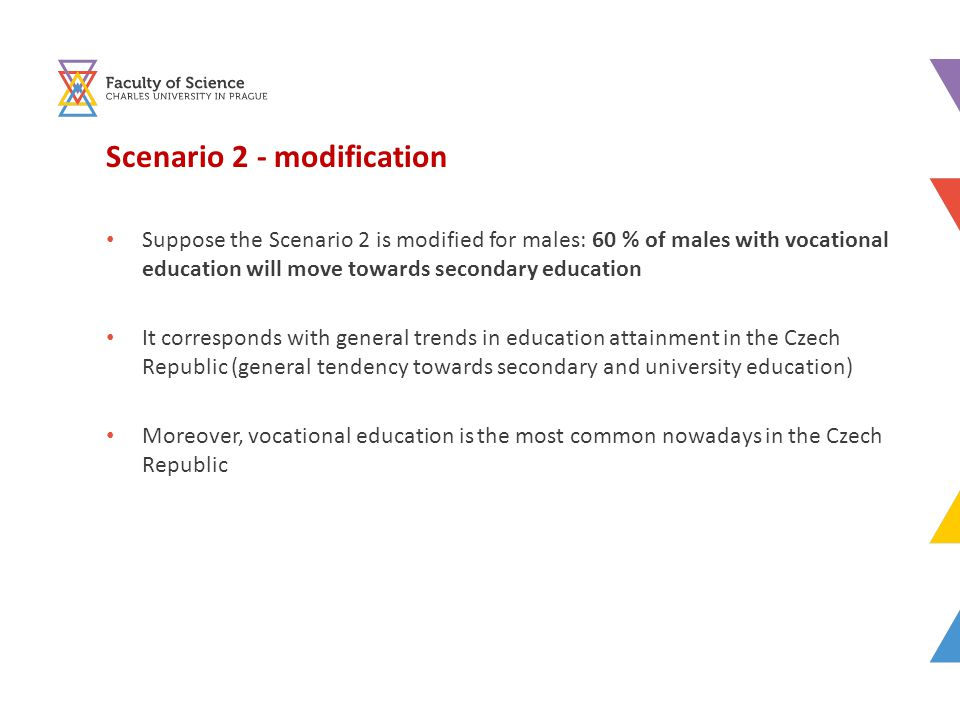Scenario 2 - modification Suppose the Scenario 2 is modified for males: 60 % of males with vocational education will move towards secondary education It corresponds with general trends in education attainment in the Czech Republic (general tendency towards secondary and university education) Moreover, vocational education is the most common nowadays in the Czech Republic