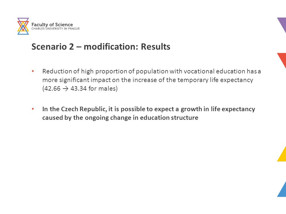 Scenario 2 – modification: Results Reduction of high proportion of population with vocational education has a more significant impact on the increase of the temporary life expectancy (42.66 → 43.34 for males) In the Czech Republic, it is possible to expect a growth in life expectancy caused by the ongoing change in education structure