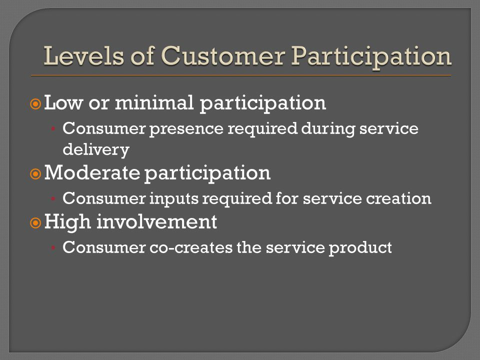 LLow or minimal participation Consumer presence required during service delivery MModerate participation Consumer inputs required for service creation HHigh involvement Consumer co-creates the service product