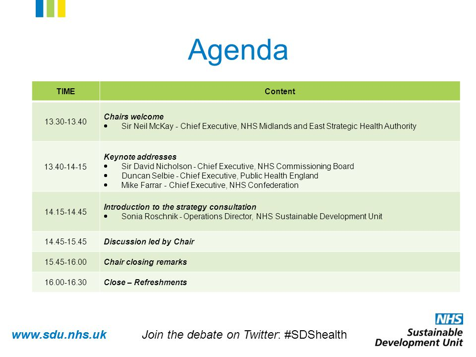 www.sdu.nhs.uk Agenda TIMEContent 13.30-13.40 Chairs welcome  Sir Neil McKay - Chief Executive, NHS Midlands and East Strategic Health Authority 13.40-14-15 Keynote addresses  Sir David Nicholson - Chief Executive, NHS Commissioning Board  Duncan Selbie - Chief Executive, Public Health England  Mike Farrar - Chief Executive, NHS Confederation 14.15-14.45 Introduction to the strategy consultation  Sonia Roschnik - Operations Director, NHS Sustainable Development Unit 14.45-15.45Discussion led by Chair 15.45-16.00Chair closing remarks 16.00-16.30Close – Refreshments Join the debate on Twitter: #SDShealth