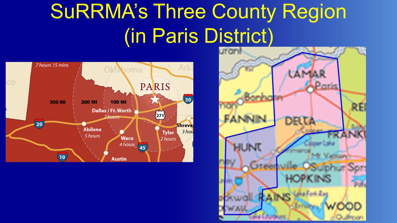 SuRRMA's Three County Region (in Paris District)