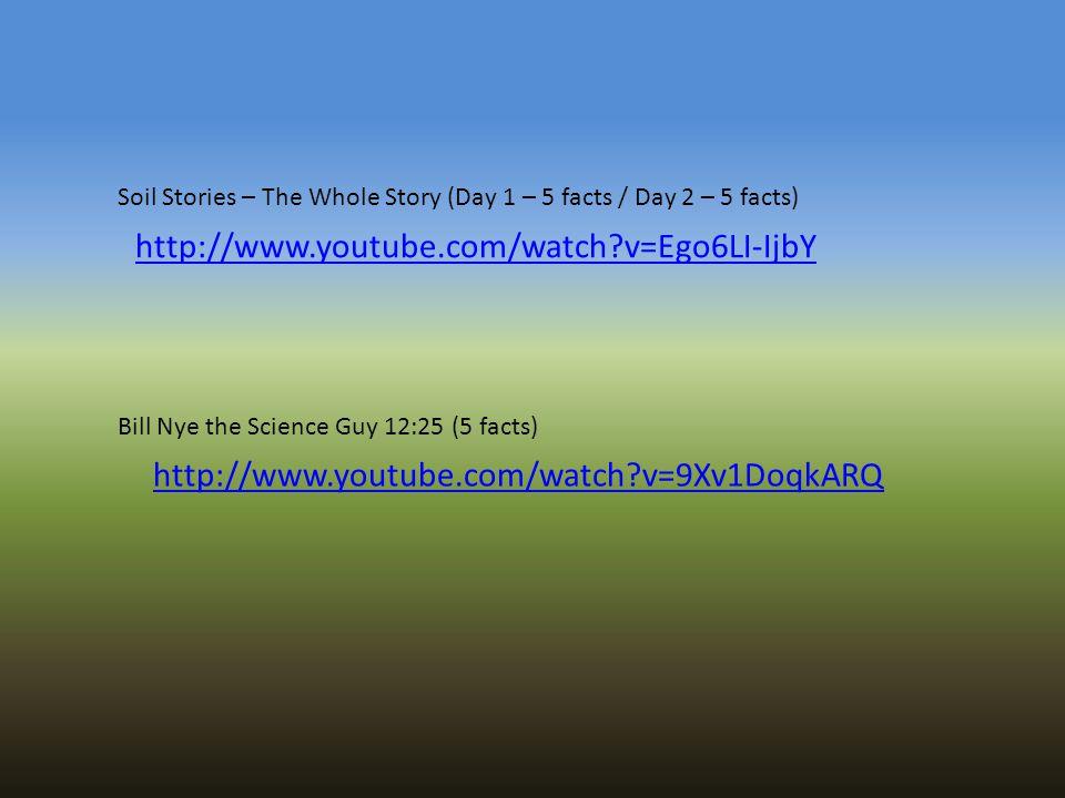 http://www.youtube.com/watch?v=Ego6LI-IjbY http://www.youtube.com/watch?v=9Xv1DoqkARQ Bill Nye the Science Guy 12:25 (5 facts) Soil Stories – The Whol