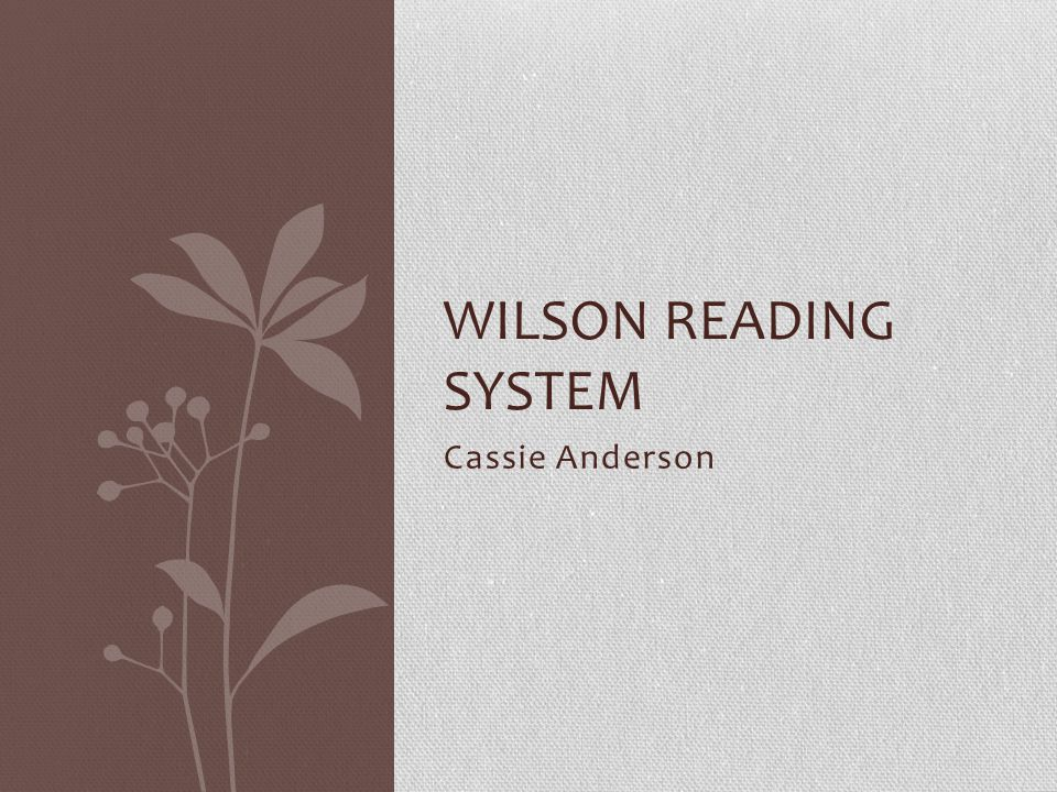 Cassie Anderson WILSON READING SYSTEM