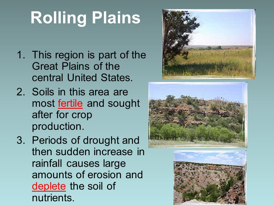 Rolling Plains 1.This region is part of the Great Plains of the central United States. 2.Soils in this area are most fertile and sought after for crop