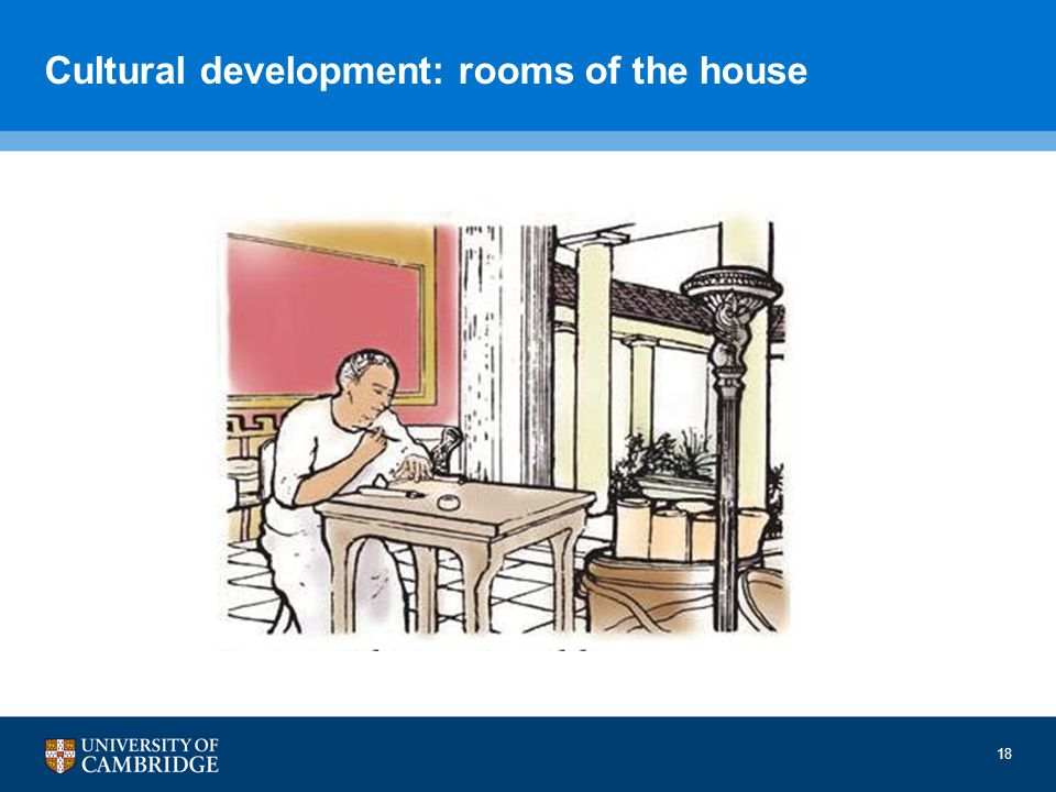Cultural development: rooms of the house 18