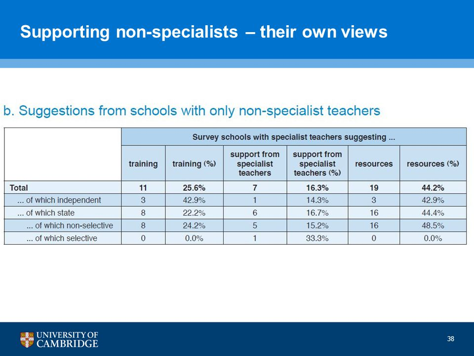 Supporting non-specialists – their own views 38