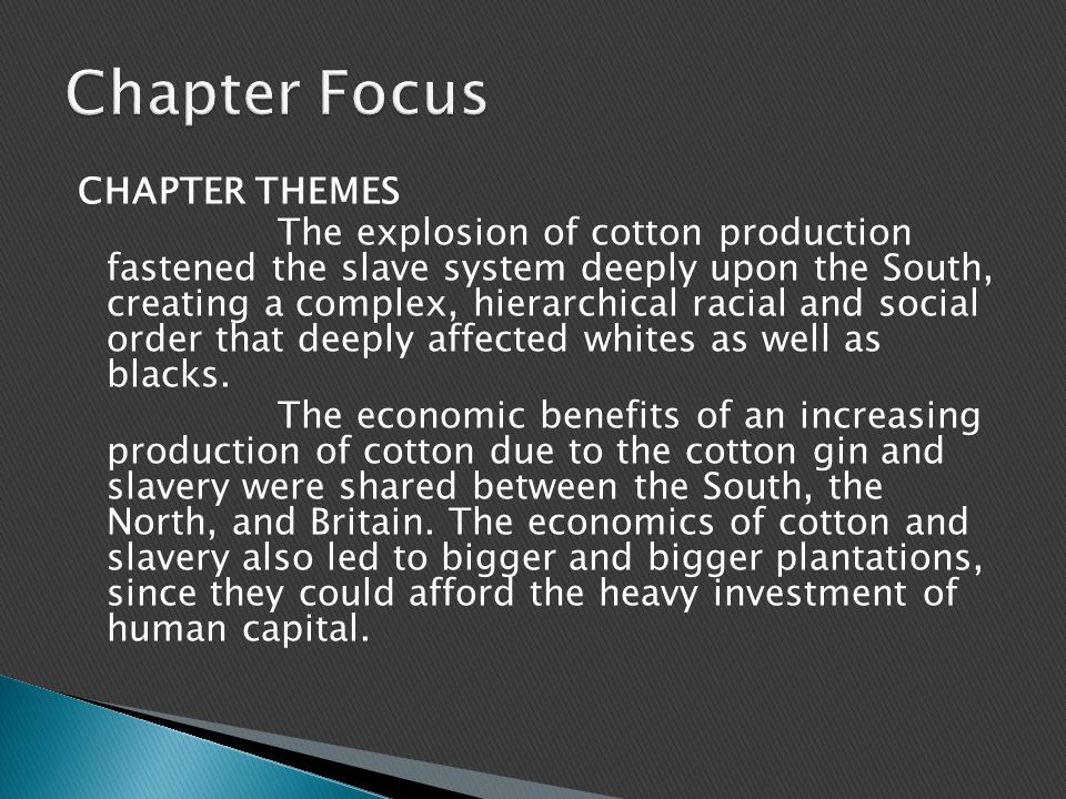 CHAPTER THEMES The explosion of cotton production fastened the slave system deeply upon the South, creating a complex, hierarchical racial and social order that deeply affected whites as well as blacks.