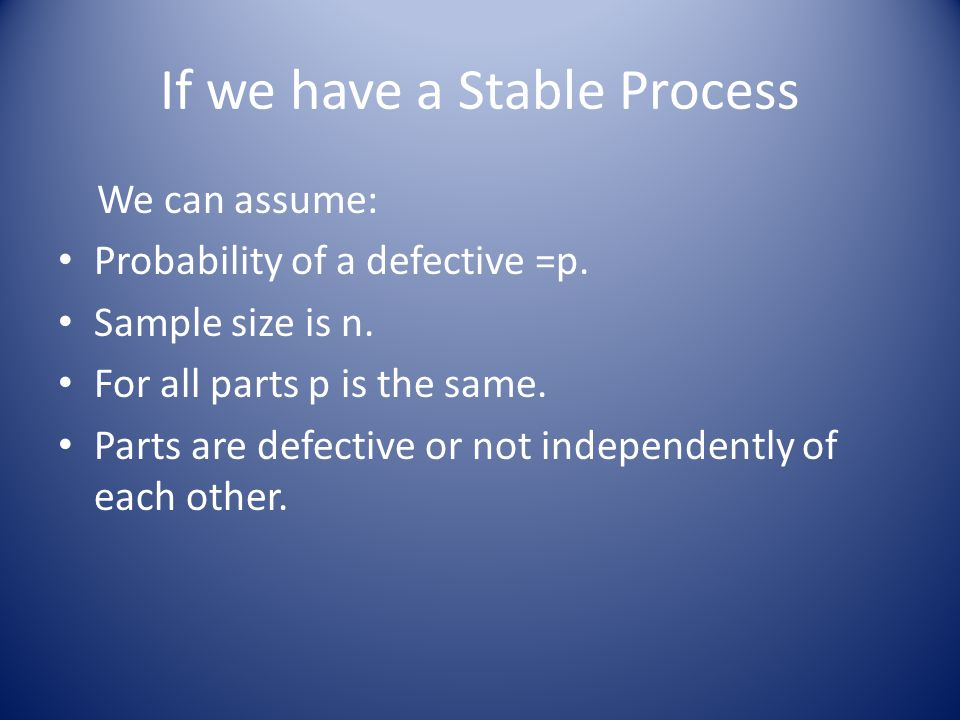 If we have a Stable Process We can assume: Probability of a defective =p. Sample size is n. For all parts p is the same. Parts are defective or not in