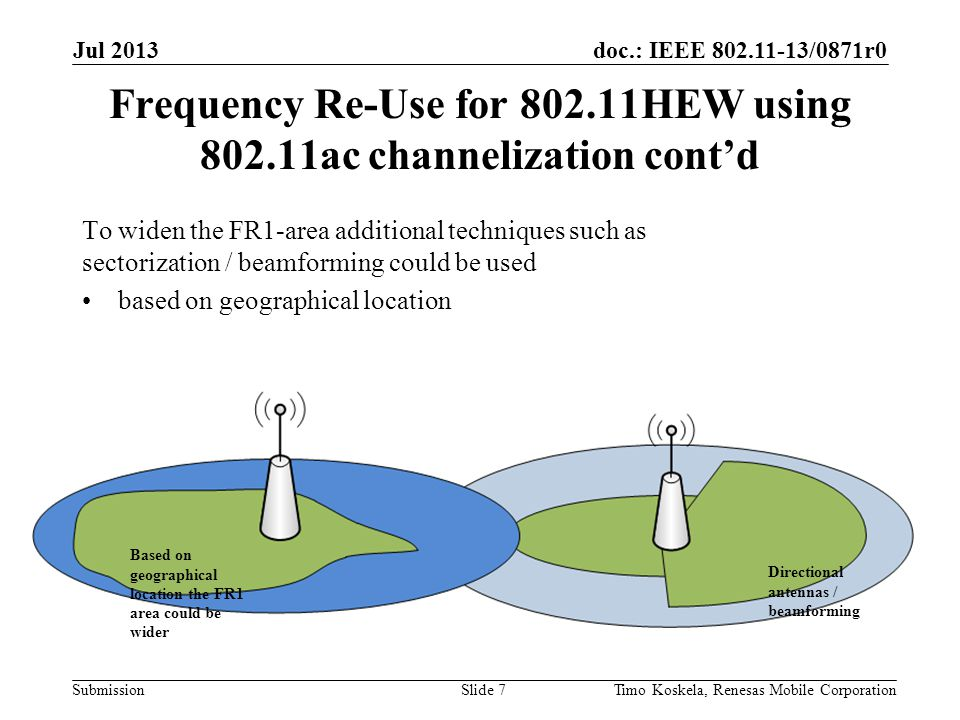 doc.: IEEE 802.11-13/0871r0 Submission To widen the FR1-area additional techniques such as sectorization / beamforming could be used based on geographical location Frequency Re-Use for 802.11HEW using 802.11ac channelization cont'd Jul 2013 Timo Koskela, Renesas Mobile CorporationSlide 7 Directional antennas / beamforming Based on geographical location the FR1 area could be wider