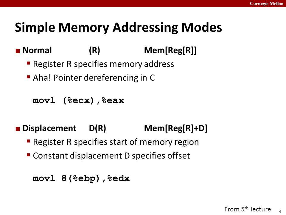 Carnegie Mellon 4 Simple Memory Addressing Modes Normal(R)Mem[Reg[R]]  Register R specifies memory address  Aha.