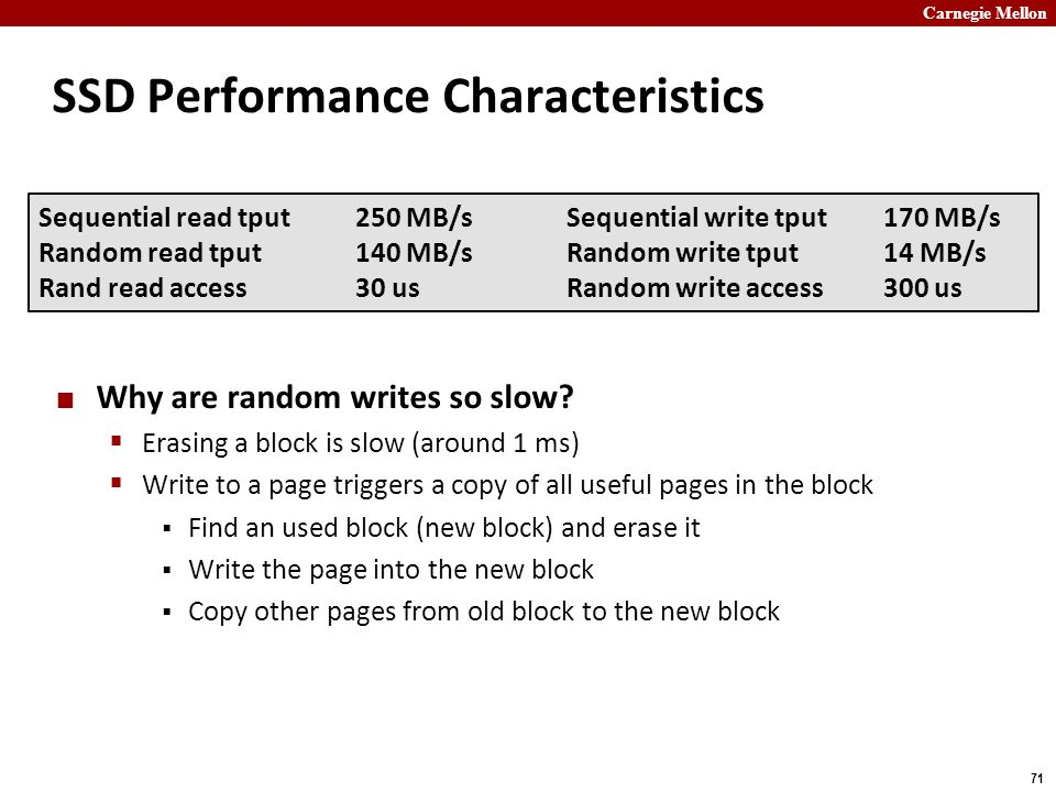 Carnegie Mellon 71 SSD Performance Characteristics Why are random writes so slow?  Erasing a block is slow (around 1 ms)  Write to a page triggers a