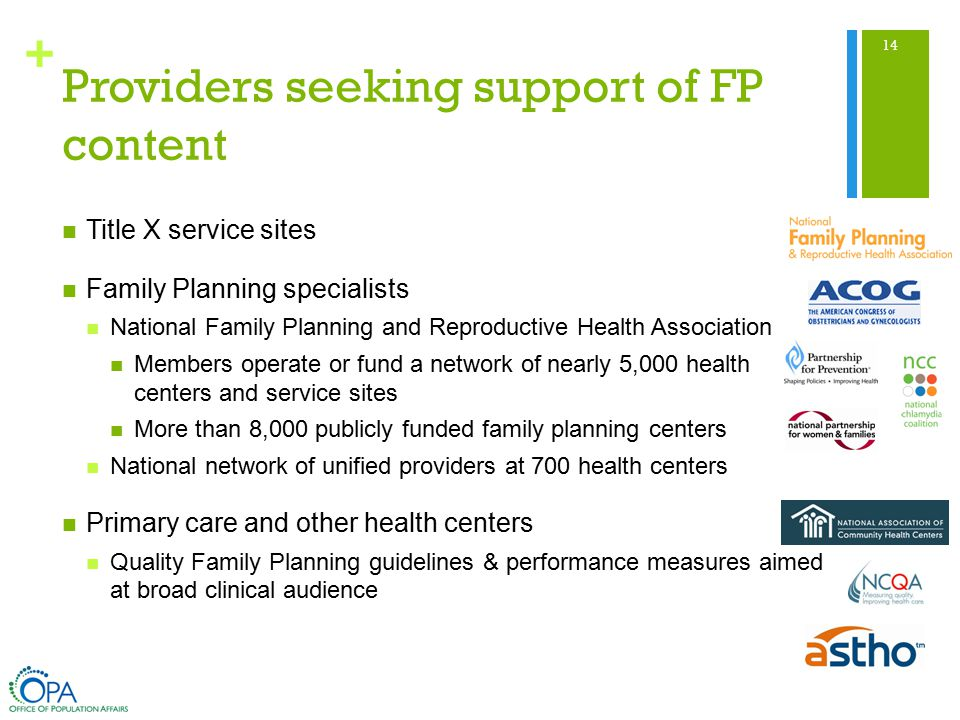 + Providers seeking support of FP content Title X service sites Family Planning specialists National Family Planning and Reproductive Health Association Members operate or fund a network of nearly 5,000 health centers and service sites More than 8,000 publicly funded family planning centers National network of unified providers at 700 health centers Primary care and other health centers Quality Family Planning guidelines & performance measures aimed at broad clinical audience 14
