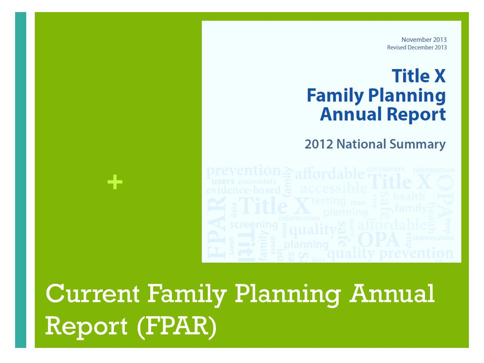 + Current Family Planning Annual Report (FPAR)