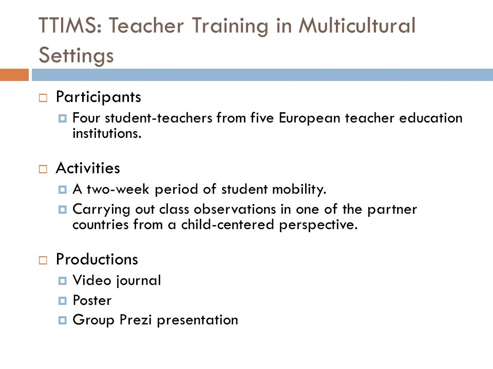 TTIMS: Teacher Training in Multicultural Settings  Participants  Four student-teachers from five European teacher education institutions.