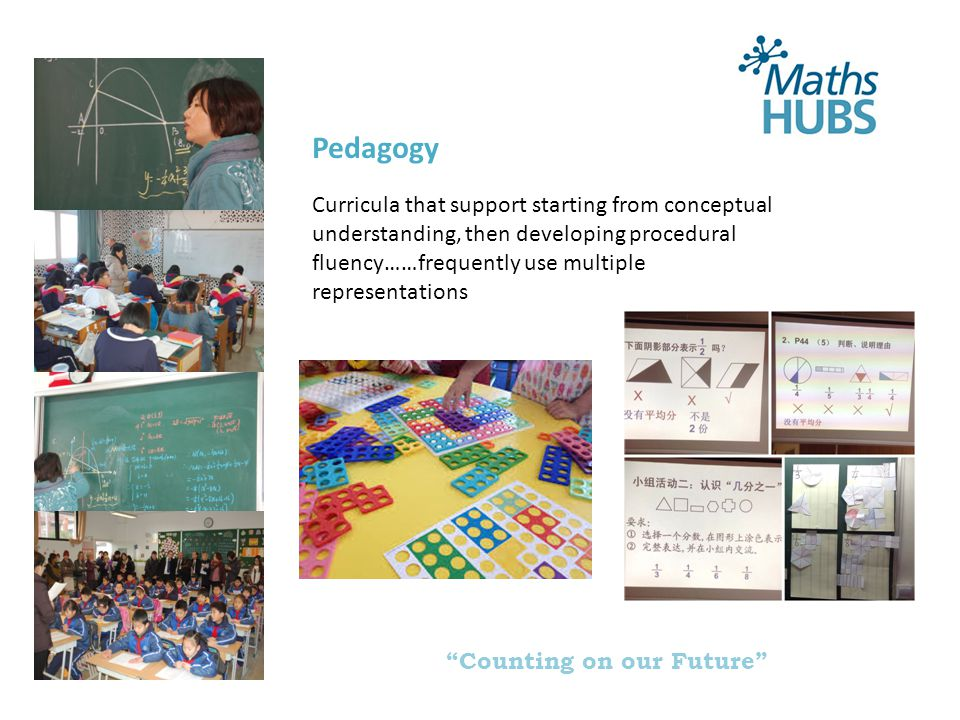 Counting on our Future Visible projects Engage, Inform, Unify Key Stage 2/3 transition Assessment without levels Primary phase use of manipulatives Maths Roadshows Undergraduate ambassador programme Parental engagement Post-16 engagement for success