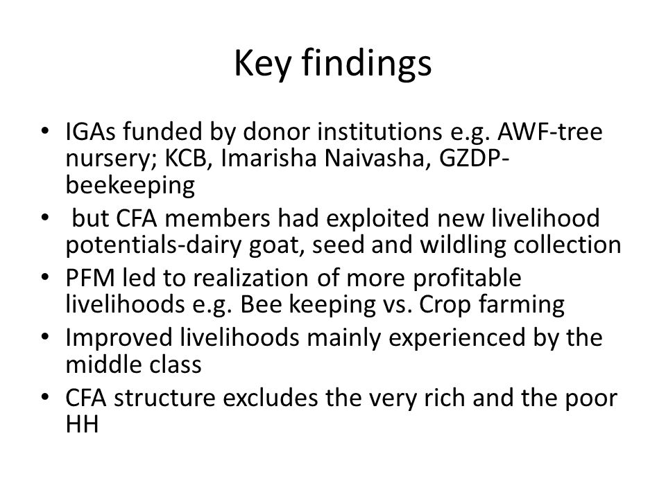 Key findings IGAs funded by donor institutions e.g.